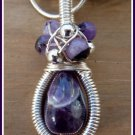 Amethyst Pendant, New York, Silver Coiled Wire