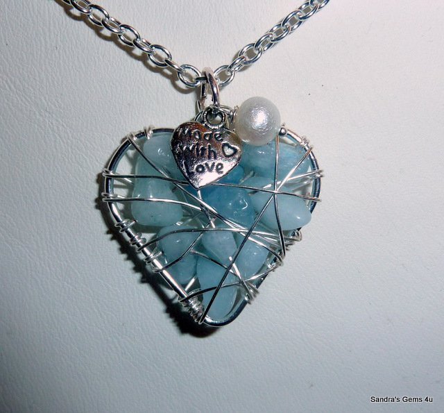 Aquamarine Heart Pendant, Silver, March birthstone