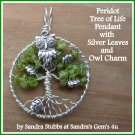Peridot Tree of Life Pendant with Owl, Butterfly, Fairy or Tree Charm, with chain, August birthstone