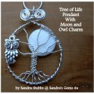 Owl and Moon Tree of Life Pendant, Mother of Pearl, Silver, with chain