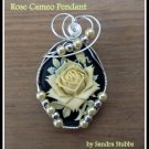Rose Cameo Pendant, wire wrapped in Silver with Pearls
