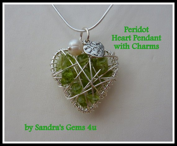 Peridot Heart Pendant, wire-wrapped, with chain, August birthstone