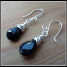 Black Onyx Earrings, Sterling Silver