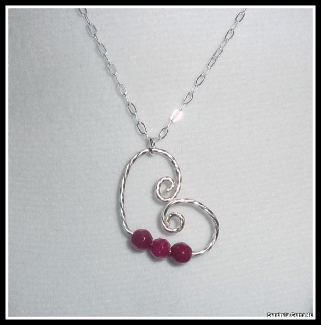 Ruby Heart Pendant in Sterling Silver, Floating Heart, July birthstone, with chain