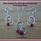 Ruby Earrings, Ruby Floating Heart Earrings, Sterling Silver, July Birthstone