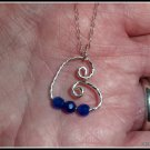 Handmade Blue Sapphire Heart Earrings, wire wrapped in Sterling Silver, September birthstone
