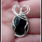 Handmade Black Onyx Faceted Pendant wire wrapped in Sterling Silver, with chain