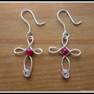 Handmade Ruby Cross Earrings wire wrapped in Sterling Silver, July birthstone