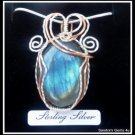 Handmade Labradorite Pendant wire wrapped in Sterling Silver and Copper