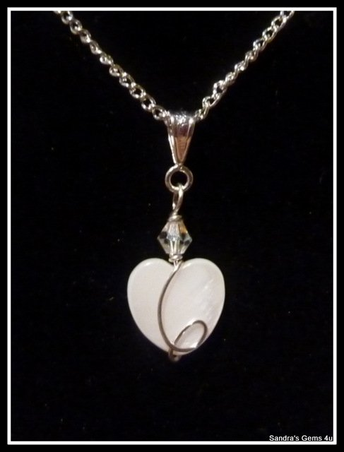 Bridal Pendant, Bridesmaid Pendant, Wedding, Mother of Pearl Heart, Swarovski Crstal