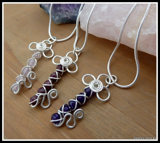 Handmade Amethyst Key Pendant, wire wrapped in Sterling Silver, February birthstone