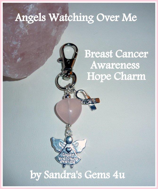 Breast Cancer Charm, Hope Charm, Angel Charm, Rose Quartz Heart