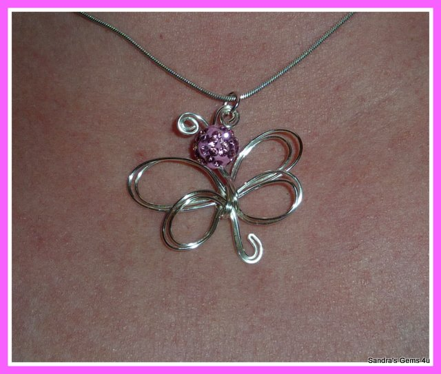 Butterfly Crystal Pendant, Sterling Silver, handmade, with chain