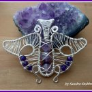 Butterfly Pendant with Amethyst, wire wrapped in Silver, February birthstone