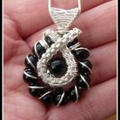 Black Onyx Pendant wire wrapped in Silver, with chain