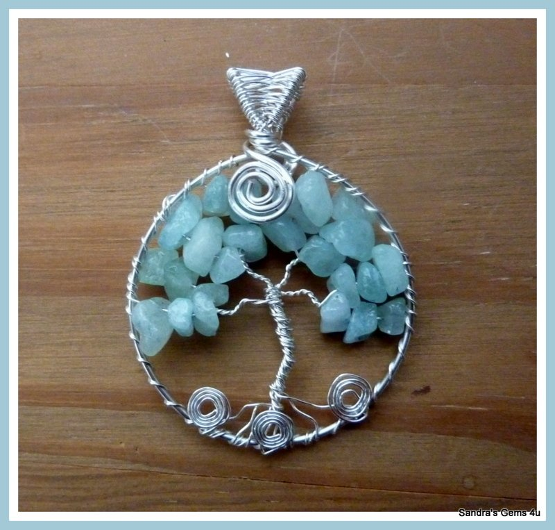 Handmade Aquamarine Tree of Life wire wrapped in Silver with chain. March birthstone