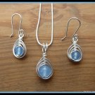 Handmade Aquamarine Pendant and Earring Set, in Herringbone Weave, Silver, February birthstone