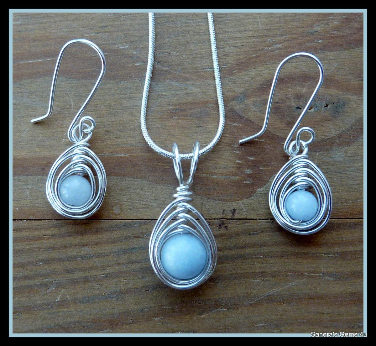 Handmade Aquamarine Pendant and Earring Set, in Herringbone Weave, Silver, February birthstone