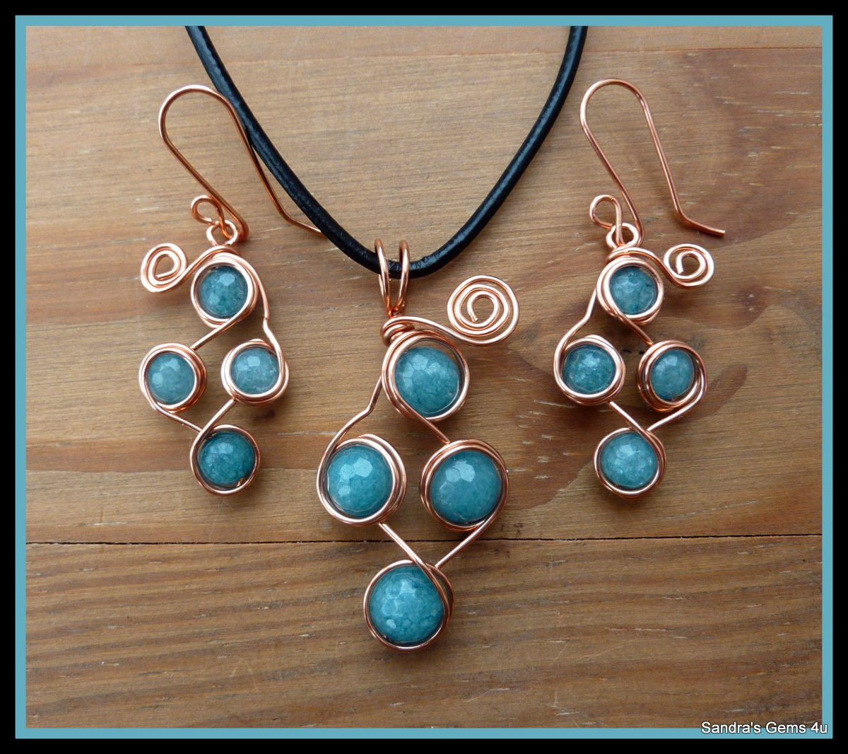 Aquamarine Pendant, wire wrapped in Copper, March birthstone, matching Earrings available
