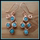 Aquamarine Earrings, wire wrapped in Copper, March birthstone, matching Pendant available