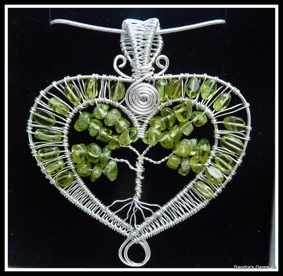 Peridot Heart Pendant, wire wrapped in Silver with chain, August birthstone
