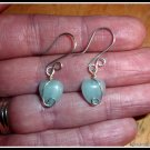 Sterling Silver Aquamarine Heart Earings, gift boxed, March birthstone