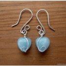 Aquamarine heart Earrings, Sterling Silver