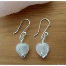 Rose Quartz Heart Earrings, Sterling Silver