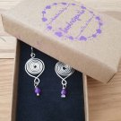 Spiral Earrings with Amethyst