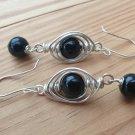 Black Onyx Earrings in Herringbone weave, Silver.