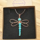 Dragonfly Pendant, Turquoise, wire wrapped in Copper