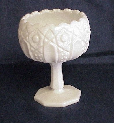 Vintage Kemple Quintec Milk Glass Compote