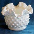 Fenton Hobnail Double Crimped Ruffle Vase