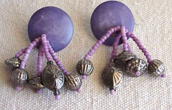 Purple Beads Post-back Earrings -  FREE SHIPPING - Memory Lane Collectibles