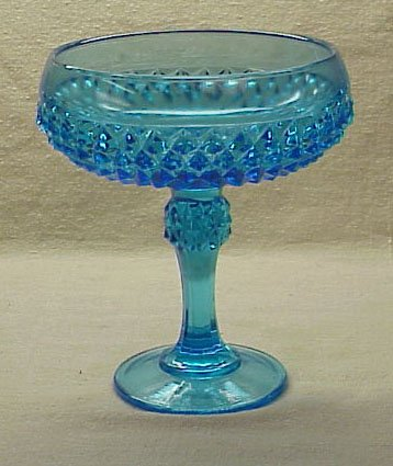 Beautiful Diamond Point Electric Blue Compote - Memory Lane Collectibles