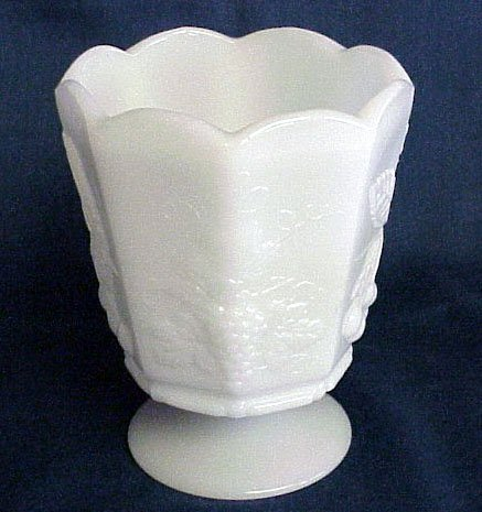 Paneled Milk Glass Compote - Memory Lane Collectibles