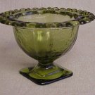 Lacy Heart Edge Green Glass Candy Dish - Memory Lane Collectibles