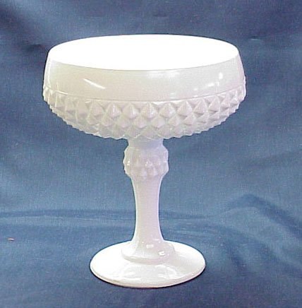 Milk Glass Diamond Point Compote - Memory Lane Collectibles