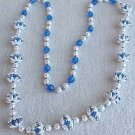 Pearl with Blue Faceted Beads Necklace