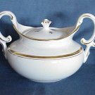Pope Gosser Sugar Bowl & Lid - White with Gold Trim
