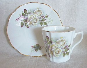 Bone China Cup & Saucer from England Beautiful White Roses