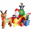 6 Foot Long Christmas Inflatable Santa on Sleigh with Reindeer and Penguins Yard Decoration #136
