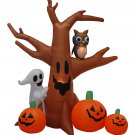 8 Foot Dead Tree with Owl Ghost and Pumpkins Indoor Outdoor Decoration #111