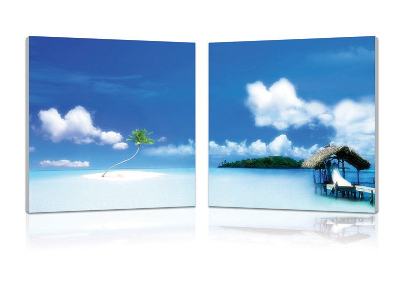 Oasis, Gallery Wrapped Diptychs 2 Panel Modern Wall Art Decoration #222
