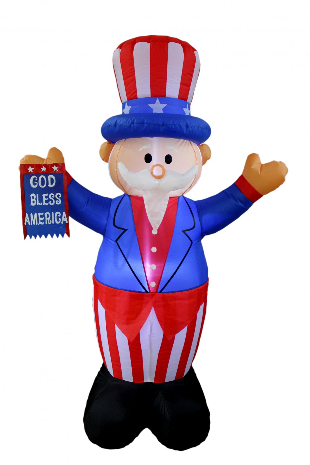 PATRIOTIC INFLATABLE UNCLE SAM AMERICAN FLAG 4TH OF JULY AIR BLOWN DECORATION #335