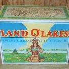 "Land O' Lakes Sweet Cream Butter Tin Recipe Box w/ Recipe Cards 4"" Tall"