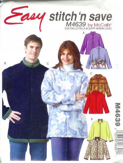 M4639 McCall Pattern EASY STITCH'N SAVE Jackets Misses /  Mens Size A  S, M, L