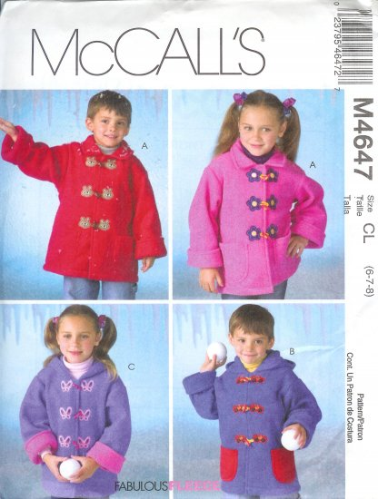 M4647 McCall Pattern FABULOUS FLEECE Unlined Coats Childs / Boys / Girls Size CL 6-7-8