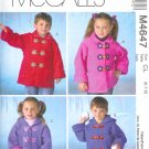 M4647 McCall Pattern FABULOUS FLEECE Unlined Coats Childs / Boys / Girls Size CL 6-7-8