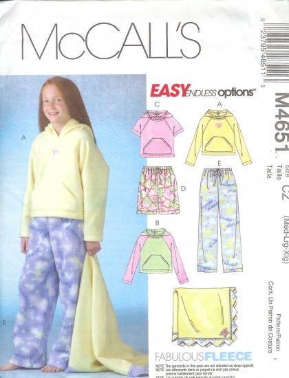 M4651 McCall Pattern EASY ENDLESS OPTIONS Tops,Shorts,Pants,Blanket Girls PLUS Size 8 1/2 - 16 1/2
